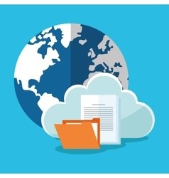 Planet cloud and file design vector