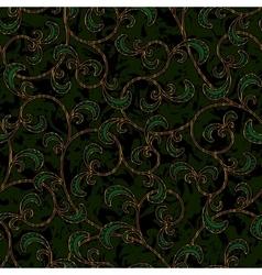 seamless floral dark green damask pattern vector image vector image