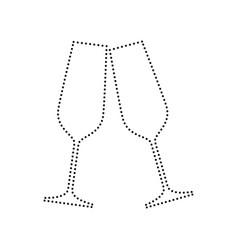sparkling champagne glasses black dotted vector image
