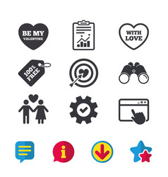 Valentine day love icons target aim with heart vector