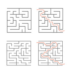 a set of square simple labyrinths an interesting vector image