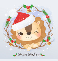 Adorable little lion for christmas decoration vector