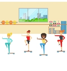 Aerobics Class With Step Equipment Member Of The vector