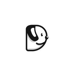 Alphabet letter d black white dog logo icon vector