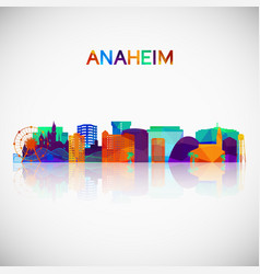 anaheim skyline silhouette in colorful geometric vector image