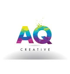 Aq a q colorful letter origami triangles design vector
