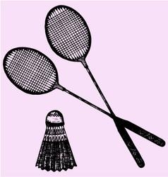 Badminton racket shuttlecock vector image