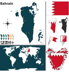 Bahrain map world vector image