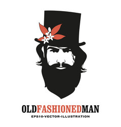 bearded man wearing a top hat decorated vector image