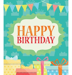 Birthday Card with Present and Gift Box vector image