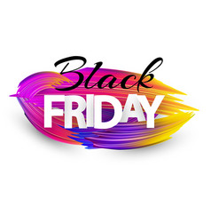 black friday sale poster with colorful brush vector image
