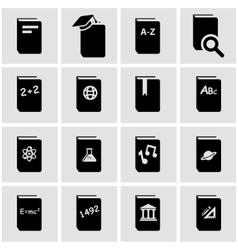 Black schoolbook icon set vector