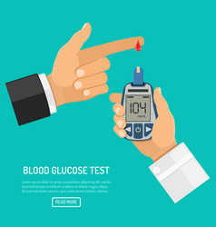 blood glucose meter in hand vector image