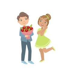 Boy giving flower bouquet to a girl vector