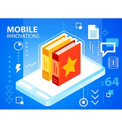 Bright mobile phone and books on blue backgr vector