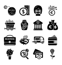 Business icons set simple style vector