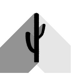 Cactus simple sign black icon with two vector