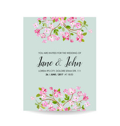 Card with spring cherry flowers for wedding vector