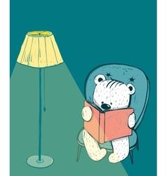 Cartoon baby bear reading a book vector