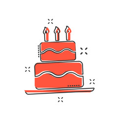 cartoon birthday cake icon in comic style fresh vector image