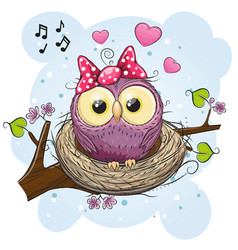 Cartoon owl in a nest on a branch vector
