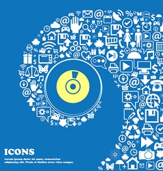 CD or DVD icon sign Nice set of beautiful icons vector image