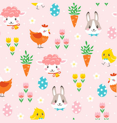 Children easter pattern with cute cartoon vector