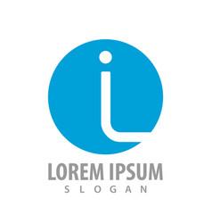circle blue initial letter il logo concept design vector image