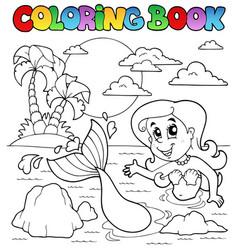 Coloring book ocean and mermaid 2 vector