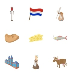 Country holland icons set cartoon style vector