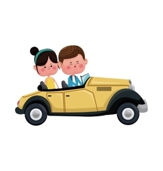 Couple traveling classic car lovely vector