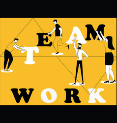 Creative word concept teamwork and people doing vector