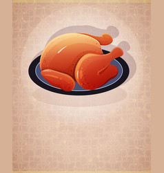 Crispy skin roasted chicken vector