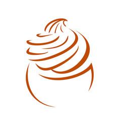 Cupcake line art whip cream symbol design vector