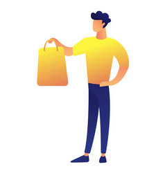 customer standing with shopping bag vector image