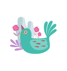 cute little green nesting bird symbol of spring vector image