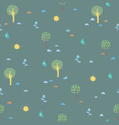 cute trees landscape background with trees vector image