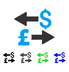 Dollar pound transactions flat icon vector