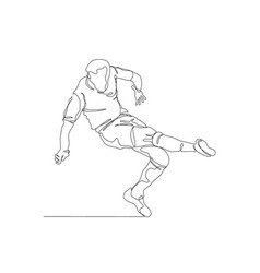 Draw a continuous line football player kicks vector