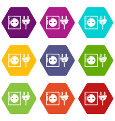 electric outlet icons set 9 vector image