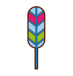 feather hippie style icon vector image