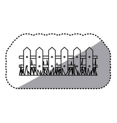 Figure wood grid with grass icon vector