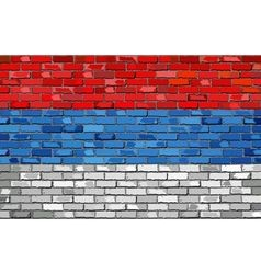 Flag of serbia on a brick wall vector