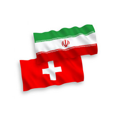 Flags iran and switzerland on a white vector