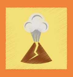 flat shading style icon volcano erupting vector image