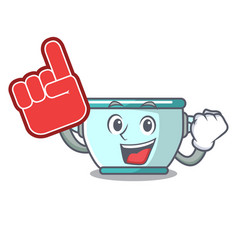 foam finger steel pot mascot cartoon vector image