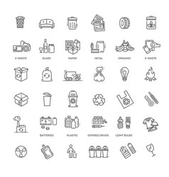 Garbage line icons set garbage icons set vector