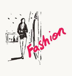 Girl walks past shop window drawn sketch vector