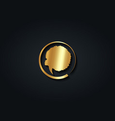 gold luxury african woman round logo design vector image