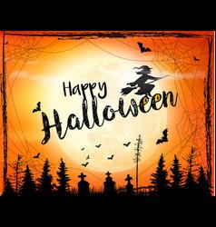 Halloween background with broomstick vector